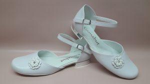 329 – Dziewczęce buty na komunię biało-srebrne
